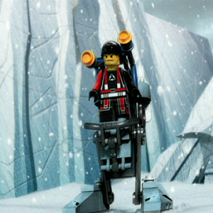 3D Animated Lego Soldier Riding Mechanical Robot During A Snow Storm.
